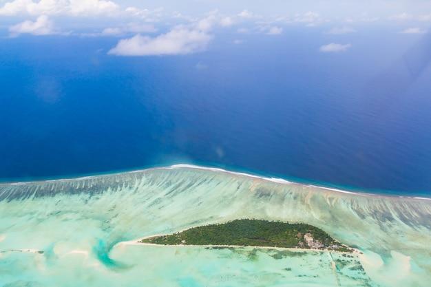 Beautiful aerial shot of blue ocean waves