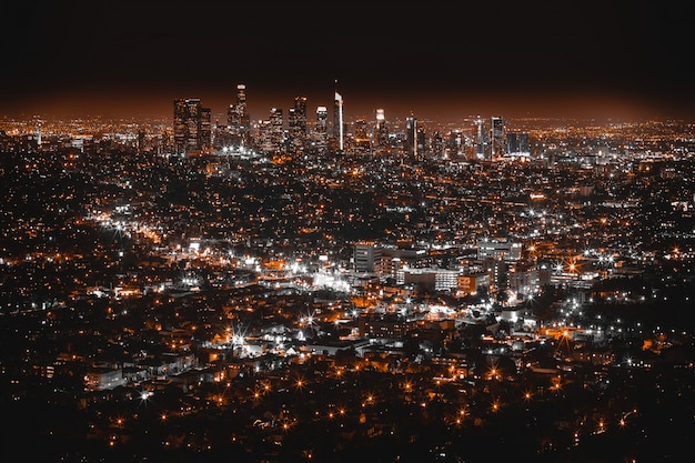 Beautiful aerial shot of los angeles at night