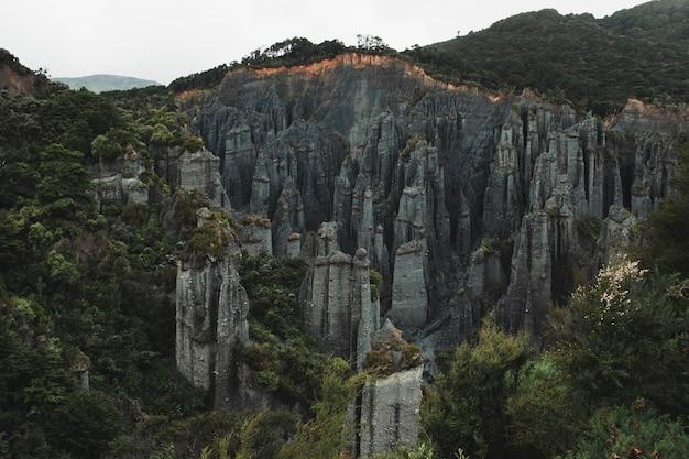 丘の上の森の間の岩の形成の美しい空中ショット