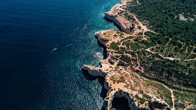 Beautiful above aerial view of algarve coast in portugal.