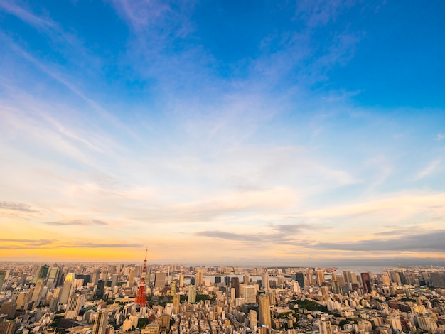 Beautiful aerial view of architecture and building around tokyo city at sunset time