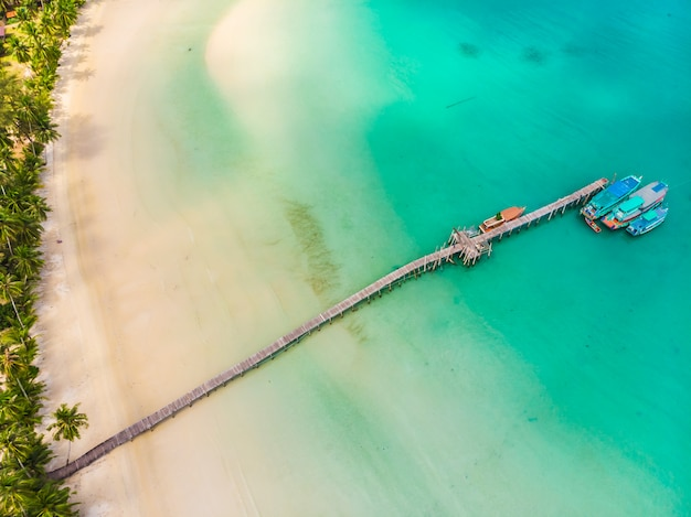 Beautiful aerial view of beach and sea with coconut palm tree