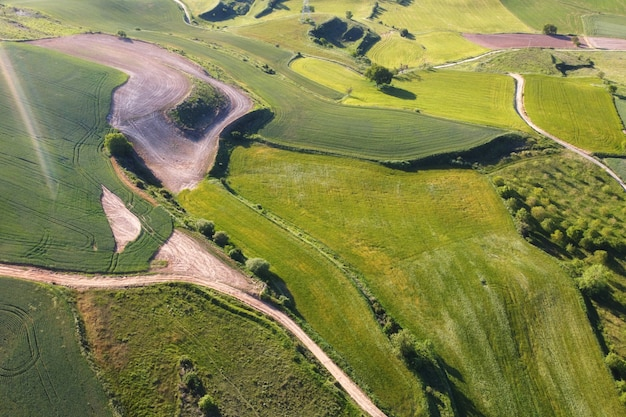 Beautiful aerial view of countryside landscape with green meadow