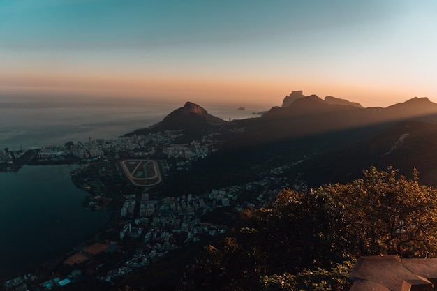 Beautiful aerial view of a landscape in rio de janeiro during sunset
