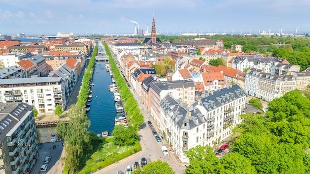 위에서 코펜하겐 스카이 라인의 아름 다운 조감도