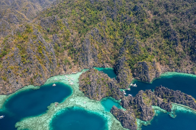 Beautiful aerial view of the popular twin lagoon in coron, philippines. concept about asian travels and landscapes