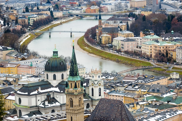 Beautiful aerial view of river salzach in salzburg, austria