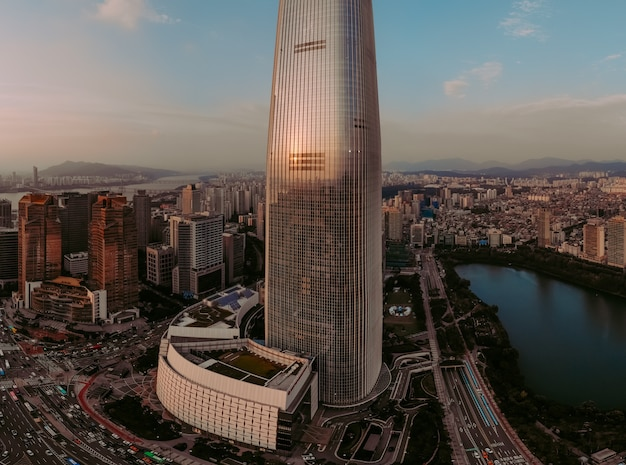 Beautiful aerial view on tower in seoul