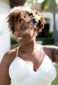 Beautiful african american bride getting married