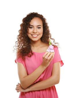 Beautiful african girl with birthday cake, isolate on white