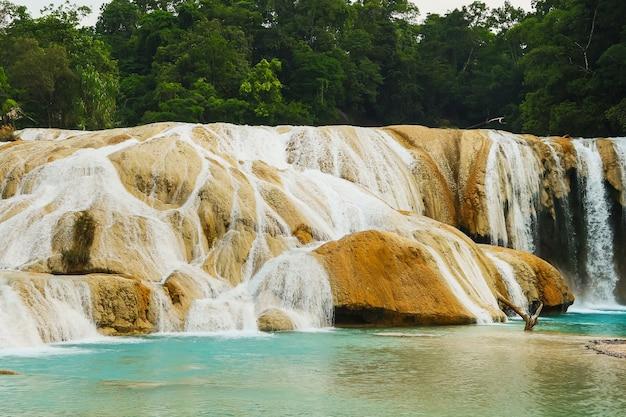 Beautiful agua azul waterfall in chiapas, mexico.