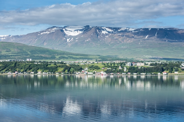 Beautiful akureyri city in iceland in summer