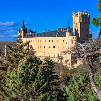 Красивый замок алькасар в сеговии, испания