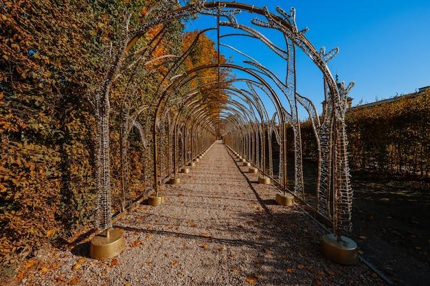 秋の公園の美しい路地