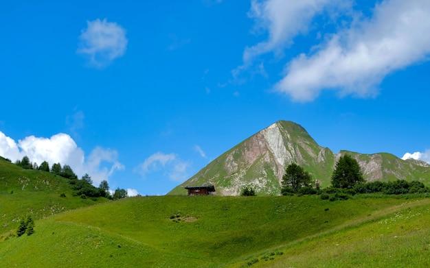 녹색 초원, 고산 별장 및 산봉우리가있는 아름다운 고산 풍경,
