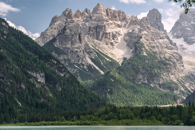 Beautiful alps with mountain and lake near green forest