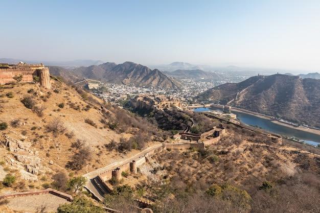 Beautiful amer landscape in india, jaipur, panorama