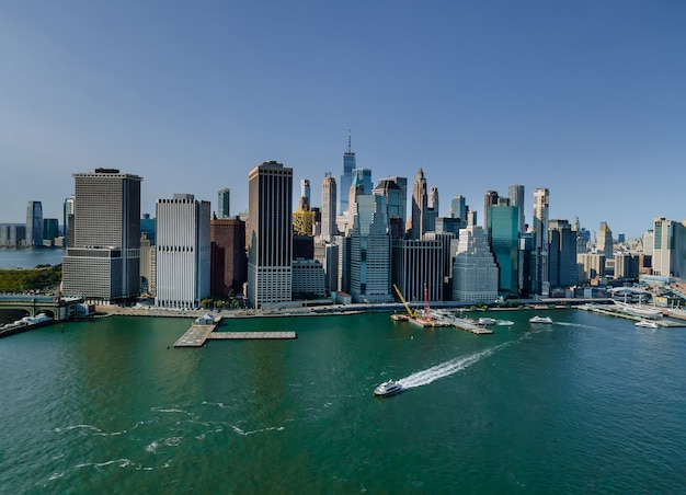 Beautiful america of aerial view on new york city manhattan skyline panorama with skyscrapers over hudson river us