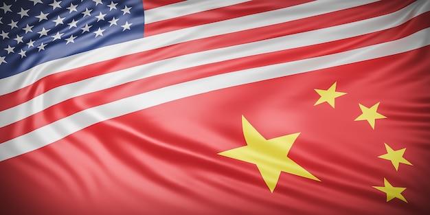 美しいアメリカと中国の旗の波のクローズアップ