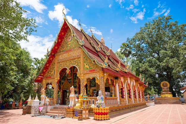 The beautiful ancient art chapel in phuket temple from nan, thailand