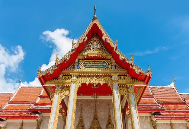 Beautiful ancient temple in thailand against the blue sky.