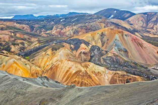 Landmannalaugar, 아이슬란드의 아름답고 화려한 산 풍경. 하이킹 여행 및 경치 좋은 곳.
