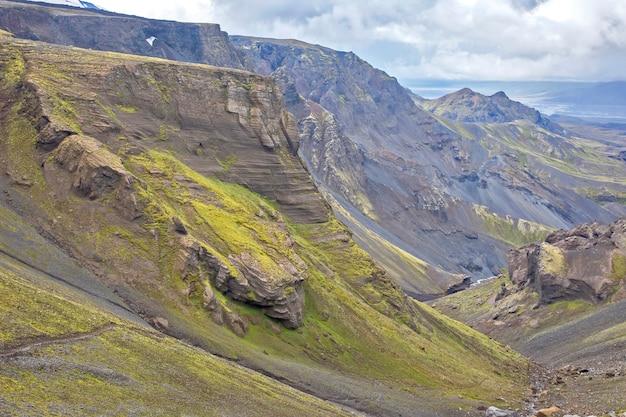 Landmannalaugar의 아름답고 화려한 산 풍경