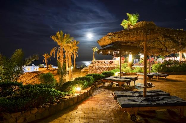 Beautiful arabian night in a hotel of egypt. sharm el-sheikh