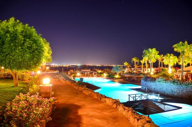Beautiful arabian night in a hotel of egypt. sharm el sheikh