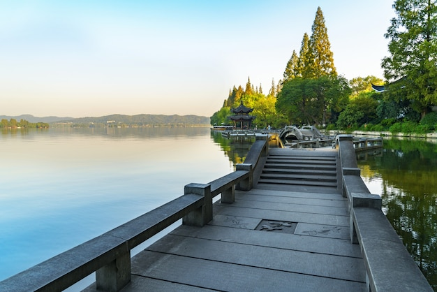 Beautiful architectural landscape and landscape in west lake, hangzhou