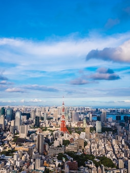 Beautiful architecture and building around tokyo city with tokyo tower in japan