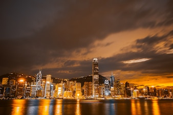 Beautiful architecture building cityscape in hong kong city