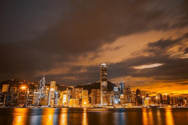홍콩 도시에서 아름 다운 건축 건물 도시 풍경