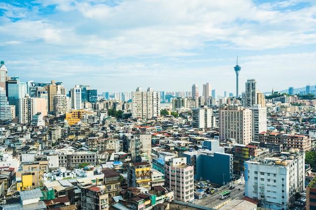 마카오 시티의 아름 다운 건축 건물 도시 풍경