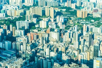 Beautiful architecture building exterior cityscape of hong kong city skyline