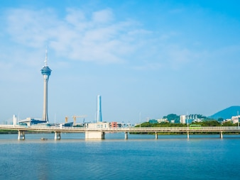 Beautiful architecture building of macau tower in the city