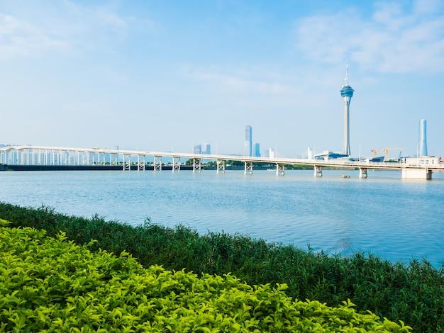 도시에서 마카오 타워의 아름 다운 건축 건물