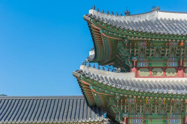 Bella architettura nel palazzo di gyeongbokgung a seoul città