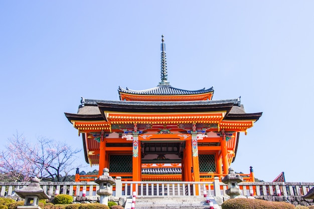 Beautiful architecture inside kiyomizu-dera temple during cherry blossom time are going to bloom in kyoto, japan.
