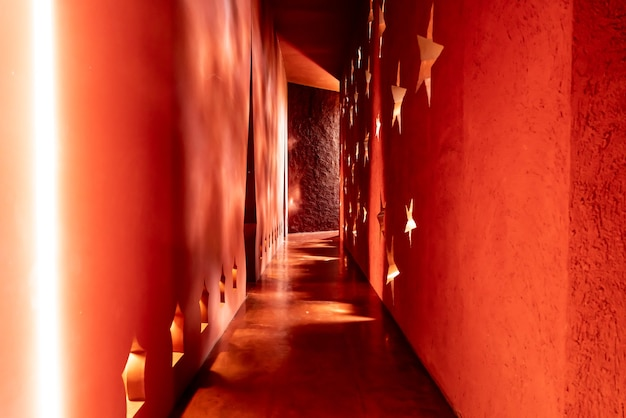 Beautiful architecture in morocco style with light and shadow