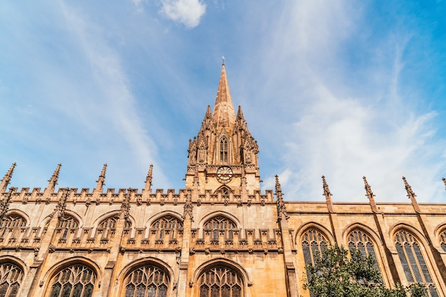Beautiful architecture at university church of st mary the virgin in oxford, united kingdom.