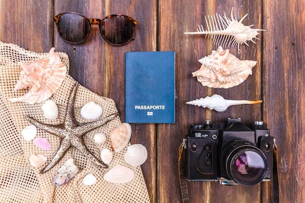Beautiful arrangement of traveling items