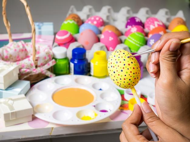 Beautiful art on eggs in easter festival.