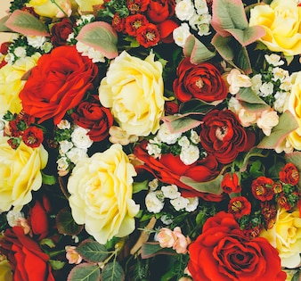Beautiful artificial flowers background.