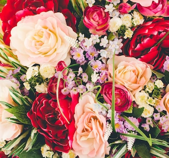 Beautiful artificial flowers background