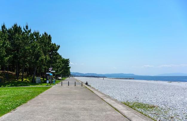Beautiful artificial marble beach and green pines along the shoreline of rinku town , osaka , japan