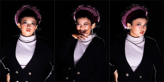 Beautiful asian 20s woman short hair fashion make up in turtle neck shirt looks strong to camera, wear purple pink hat, light from below and backlit in dark black background. collage group pack