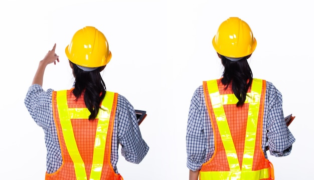 黄色いヘルメットの美しいアジアの建築家エンジニアの女性、手にオレンジ色のタブレットケース、安全広大な反射板、分離されたスタジオの白い背景、コラージュグループパックの背面背面図の肖像画