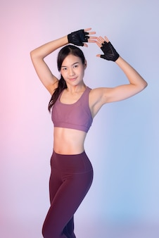 Beautiful asian fitnesses woman
