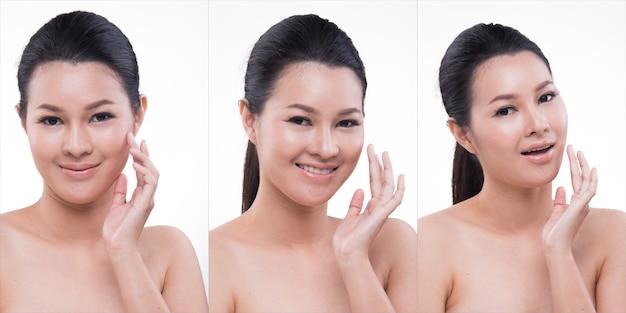 美しいアジアの長いストレート黒ラップヘア日焼けした肌の女性のスリムなオープンショルダー、ファッションクリーンメイク、スタジオ照明白い背景分離コピースペース、健康の美しさのためのグループパックコラージュ